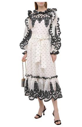 Женская блузка из льна и шелка ZIMMERMANN черно-белого цвета, арт. 9875TAND | Фото 2