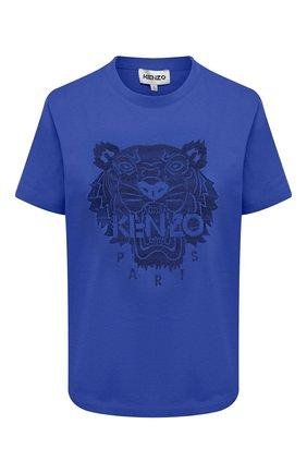 Женская хлопковая футболка KENZO синего цвета, арт. FB52TS9154YF | Фото 1