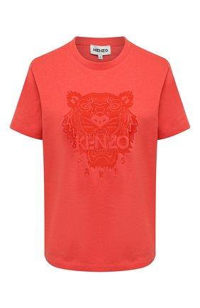 Женская хлопковая футболка KENZO оранжевого цвета, арт. FB52TS9154YF   Фото 1