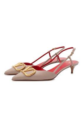 Женские кожаные туфли valentino garavani vlogo signature VALENTINO бежевого цвета, арт. VW2S0Q70/DSH | Фото 1