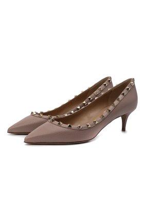 Женские кожаные туфли valentino garavani rockstud VALENTINO бежевого цвета, арт. VW2S0V22/VCE | Фото 1