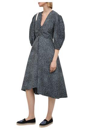 Женские текстильные эспадрильи KENZO черного цвета, арт. FB52ES180F70 | Фото 2 (Каблук высота: Низкий; Материал внутренний: Текстиль, Натуральная кожа; Подошва: Платформа; Материал внешний: Текстиль)