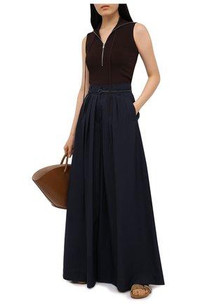 Женские хлопковые брюки BRUNELLO CUCINELLI темно-синего цвета, арт. M0F79P7595 | Фото 2