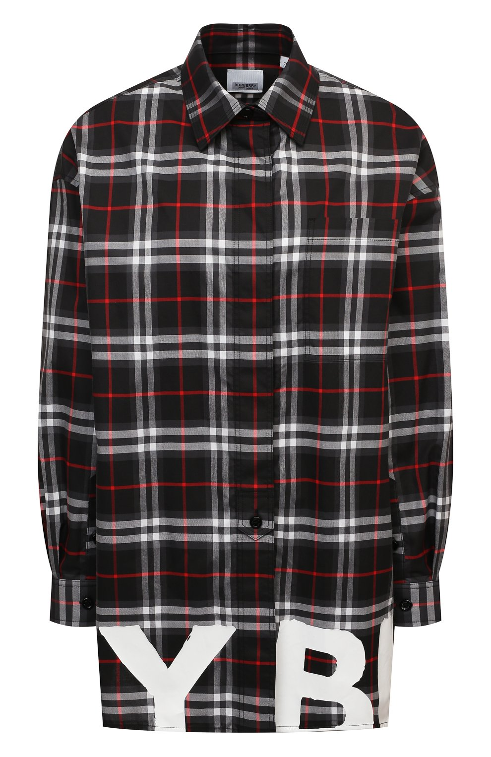 Женская хлопковая рубашка BURBERRY черного цвета, арт. 8038144   Фото 1
