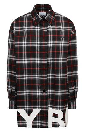 Женская хлопковая рубашка BURBERRY черного цвета, арт. 8038144 | Фото 1