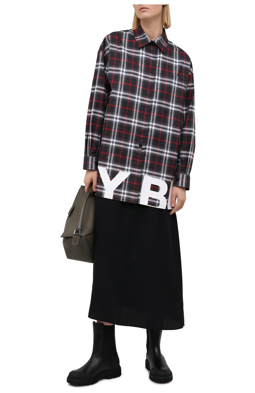 Женская хлопковая рубашка BURBERRY черного цвета, арт. 8038144   Фото 2