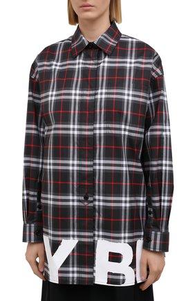 Женская хлопковая рубашка BURBERRY черного цвета, арт. 8038144   Фото 3