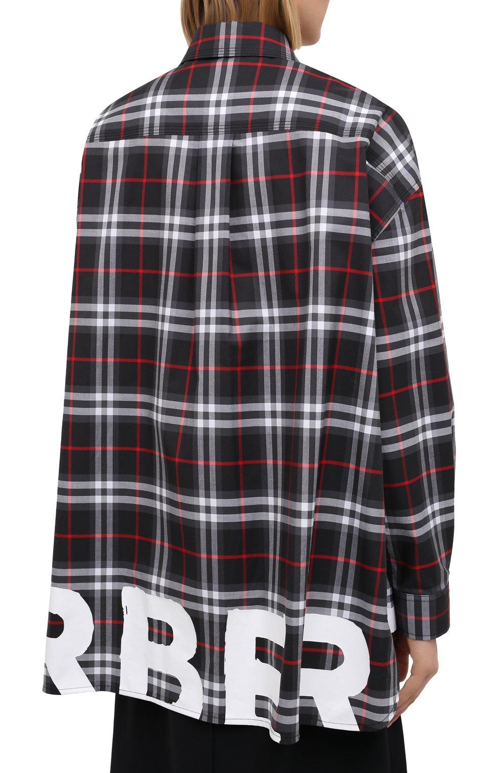 Женская хлопковая рубашка BURBERRY черного цвета, арт. 8038144   Фото 4
