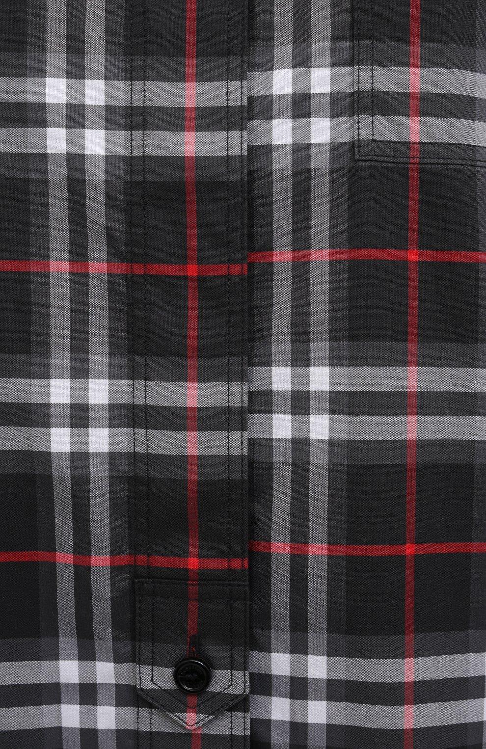 Женская хлопковая рубашка BURBERRY черного цвета, арт. 8038144   Фото 5