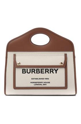 Женский сумка-тоут BURBERRY светло-бежевого цвета, арт. 8036784 | Фото 1 (Ремень/цепочка: На ремешке; Сумки-технические: Сумки-шопперы; Размер: medium; Материал: Текстиль)