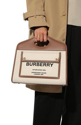 Женский сумка-тоут BURBERRY светло-бежевого цвета, арт. 8036784 | Фото 2 (Ремень/цепочка: На ремешке; Сумки-технические: Сумки-шопперы; Размер: medium; Материал: Текстиль)