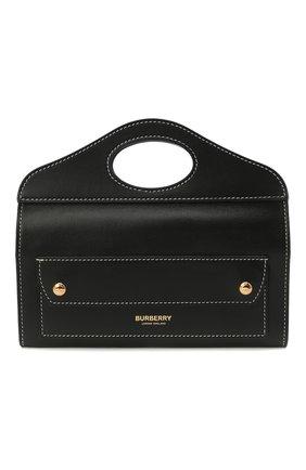 Женская сумка pocket BURBERRY черного цвета, арт. 8036735 | Фото 1 (Сумки-технические: Сумки top-handle; Размер: mini; Материал: Натуральная кожа; Ремень/цепочка: На ремешке)