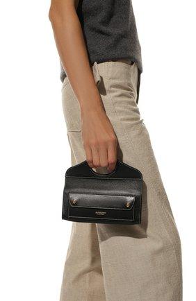 Женская сумка pocket BURBERRY черного цвета, арт. 8036735 | Фото 2 (Сумки-технические: Сумки top-handle; Размер: mini; Материал: Натуральная кожа; Ремень/цепочка: На ремешке)