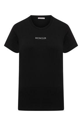 Женская хлопковая футболка MONCLER черного цвета, арт. G1-093-8C7A6-10-829FB | Фото 1