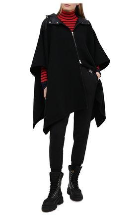 Женская шерстяное пончо MONCLER черного цвета, арт. G1-093-3G515-00-A0189   Фото 2