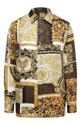 Женская шелковая рубашка VERSACE золотого цвета, арт. A82662/1F00456 | Фото 1