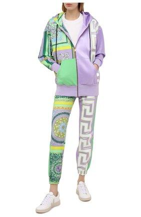 Женский хлопковая толстовка VERSACE разноцветного цвета, арт. A88680/1F00627 | Фото 2 (Женское Кросс-КТ: Кардиган-одежда; Длина (для топов): Стандартные; Материал внешний: Хлопок; Стили: Спорт-шик; Рукава: Длинные)