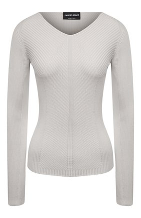 Женский шелковый пуловер GIORGIO ARMANI светло-серого цвета, арт. 3KAM14/AM37Z | Фото 1