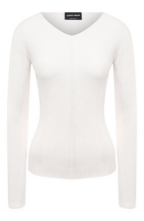 Женский шелковый пуловер GIORGIO ARMANI белого цвета, арт. 3KAM14/AM37Z | Фото 1