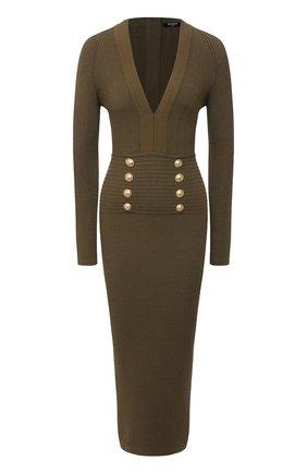 Женское платье из вискозы BALMAIN хаки цвета, арт. VF16644/K211 | Фото 1
