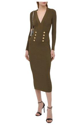 Женское платье из вискозы BALMAIN хаки цвета, арт. VF16644/K211 | Фото 2