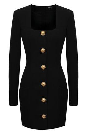Женское шерстяное платье BALMAIN черного цвета, арт. VF16234/167L | Фото 1