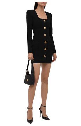 Женское шерстяное платье BALMAIN черного цвета, арт. VF16234/167L | Фото 2