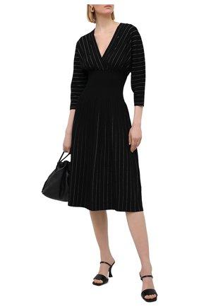 Женское платье из вискозы PROENZA SCHOULER черного цвета, арт. R2117599-KY213 | Фото 2 (Случай: Повседневный; Длина Ж (юбки, платья, шорты): Миди; Материал внешний: Вискоза; Рукава: 3/4; Стили: Романтичный)
