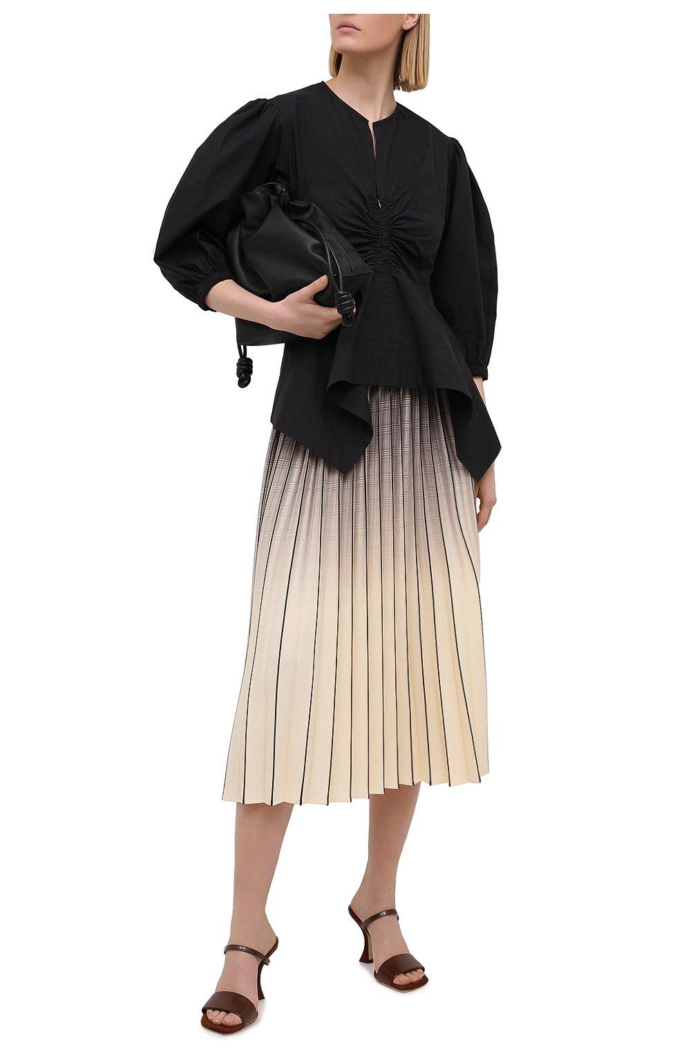 Женская юбка PROENZA SCHOULER WHITE LABEL кремвого цвета, арт. WL2115040-BY193   Фото 2 (Женское Кросс-КТ: юбка-плиссе; Материал внешний: Синтетический материал; Длина Ж (юбки, платья, шорты): Миди)