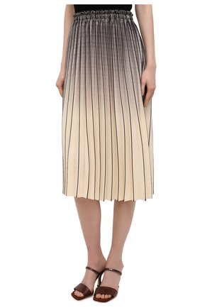 Женская юбка PROENZA SCHOULER WHITE LABEL кремвого цвета, арт. WL2115040-BY193   Фото 3 (Женское Кросс-КТ: юбка-плиссе; Материал внешний: Синтетический материал; Длина Ж (юбки, платья, шорты): Миди)