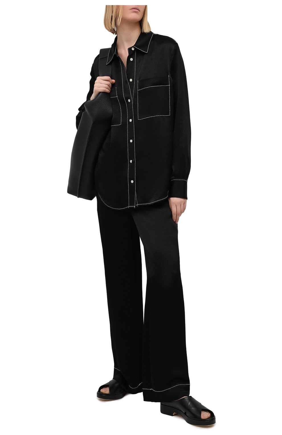 Женские брюки из вискозы PROENZA SCHOULER WHITE LABEL черного цвета, арт. WL2116071-BY194   Фото 2