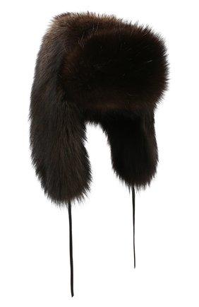 Шапка-ушанка из меха фишера | Фото №1