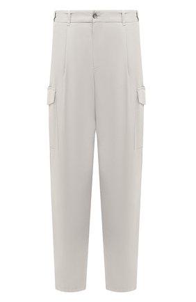 Мужские хлопковые брюки-карго GIORGIO ARMANI светло-серого цвета, арт. 1SGPP0GT/T02EY | Фото 1 (Материал внешний: Хлопок; Случай: Повседневный; Стили: Кэжуэл; Длина (брюки, джинсы): Стандартные; Силуэт М (брюки): Карго)