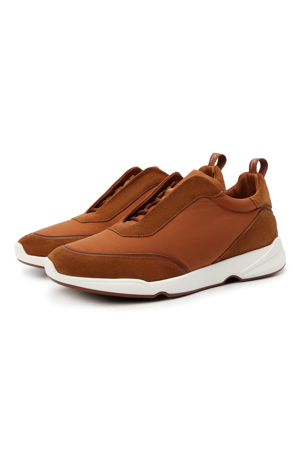 Мужские комбинированные кроссовки modular walk LORO PIANA светло-коричневого цвета, арт. FAL6187 | Фото 1