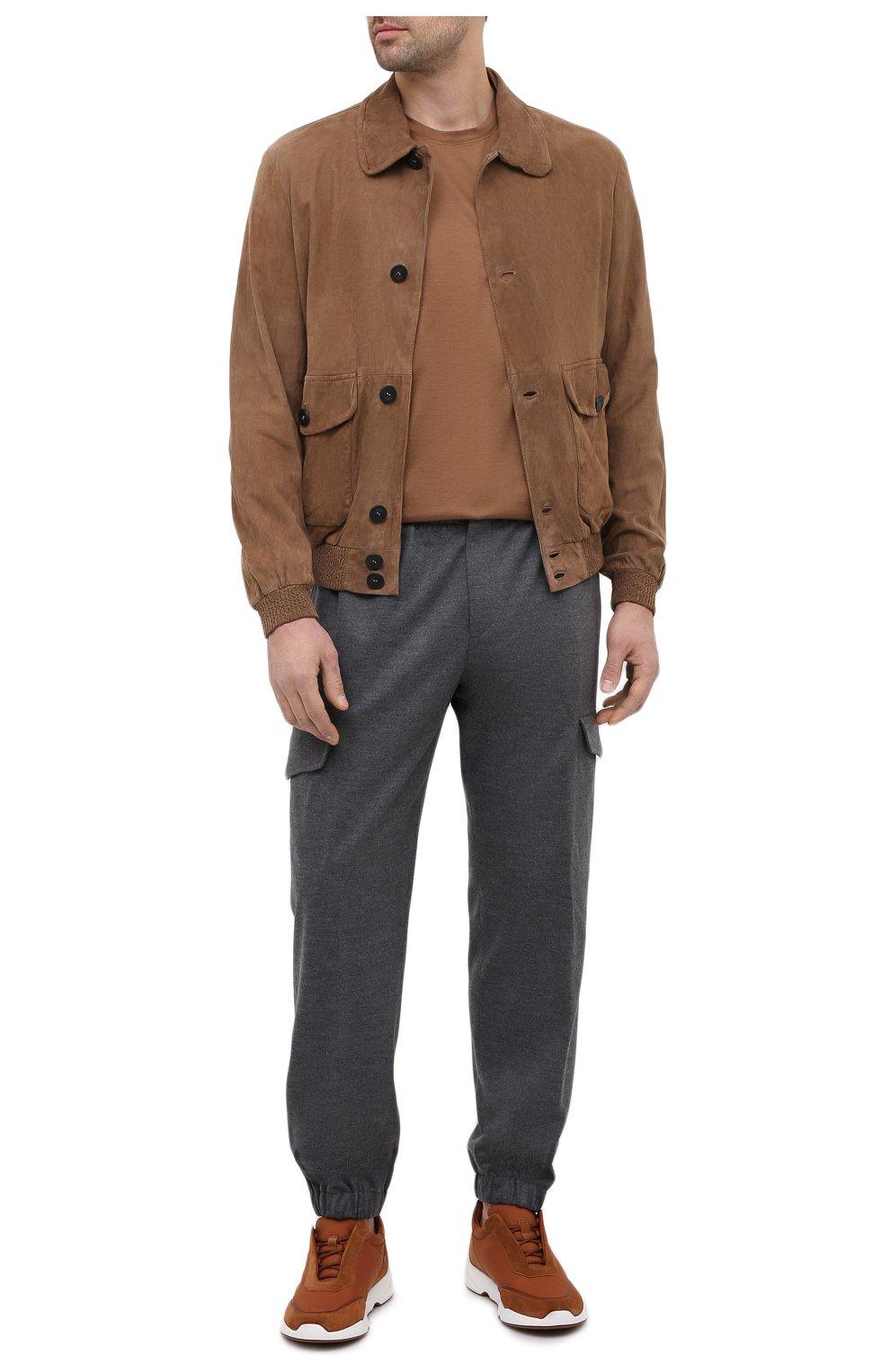 Мужские комбинированные кроссовки modular walk LORO PIANA светло-коричневого цвета, арт. FAL6187 | Фото 2