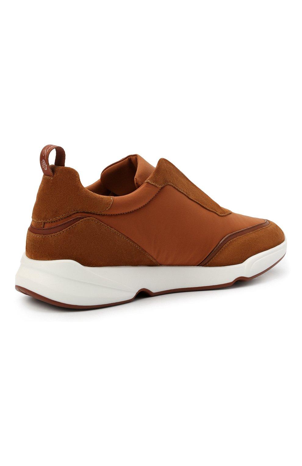Мужские комбинированные кроссовки modular walk LORO PIANA светло-коричневого цвета, арт. FAL6187 | Фото 4