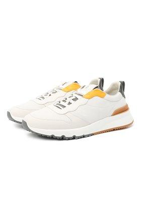 Мужские комбинированные кроссовки BRUNELLO CUCINELLI белого цвета, арт. MZUSWB0262 | Фото 1 (Материал внутренний: Натуральная кожа; Стили: Спорт; Подошва: Массивная)