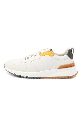 Мужские комбинированные кроссовки BRUNELLO CUCINELLI белого цвета, арт. MZUSWB0262   Фото 3