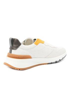 Мужские комбинированные кроссовки BRUNELLO CUCINELLI белого цвета, арт. MZUSWB0262   Фото 4