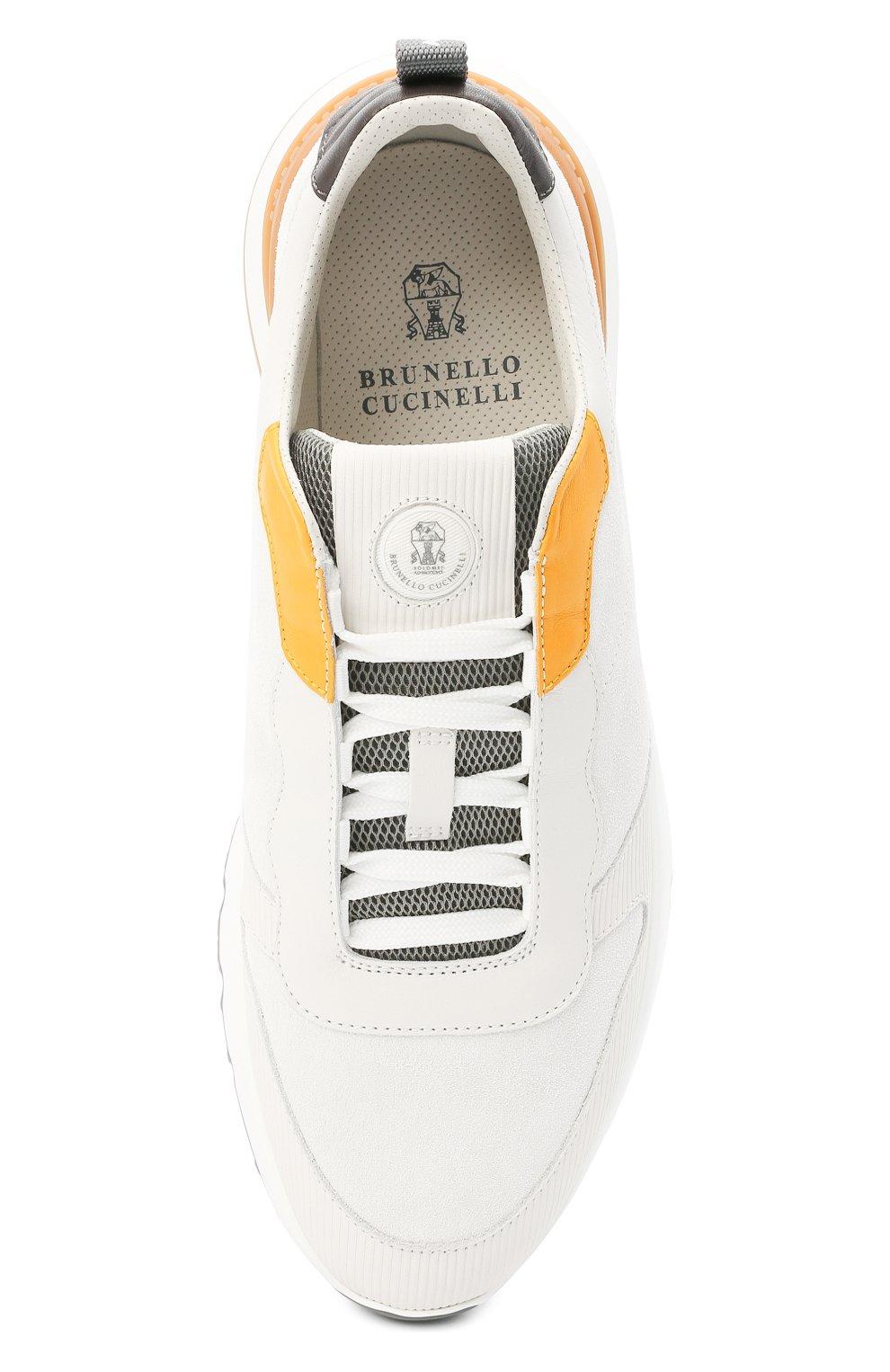 Мужские комбинированные кроссовки BRUNELLO CUCINELLI белого цвета, арт. MZUSWB0262   Фото 5