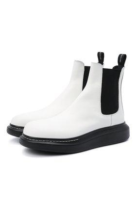 Мужские кожаные челси ALEXANDER MCQUEEN белого цвета, арт. 586198/WHX52 | Фото 1 (Материал внутренний: Натуральная кожа; Мужское Кросс-КТ: Сапоги-обувь, Челси-обувь; Подошва: Массивная)