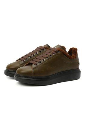 Мужские кожаные кеды ALEXANDER MCQUEEN хаки цвета, арт. 604228/WHXE2 | Фото 1 (Материал утеплителя: Натуральный мех; Материал внешний: Кожа; Подошва: Массивная)