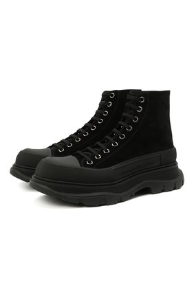 Мужские замшевые ботинки ALEXANDER MCQUEEN черного цвета, арт. 627206/WHBGU | Фото 1