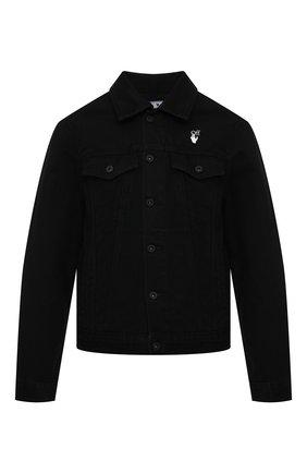 Мужская джинсовая куртка OFF-WHITE черного цвета, арт. 0MYE054R21DEN001 | Фото 1 (Кросс-КТ: Куртка, Деним; Рукава: Длинные; Стили: Гранж; Материал внешний: Хлопок, Деним; Длина (верхняя одежда): Короткие)