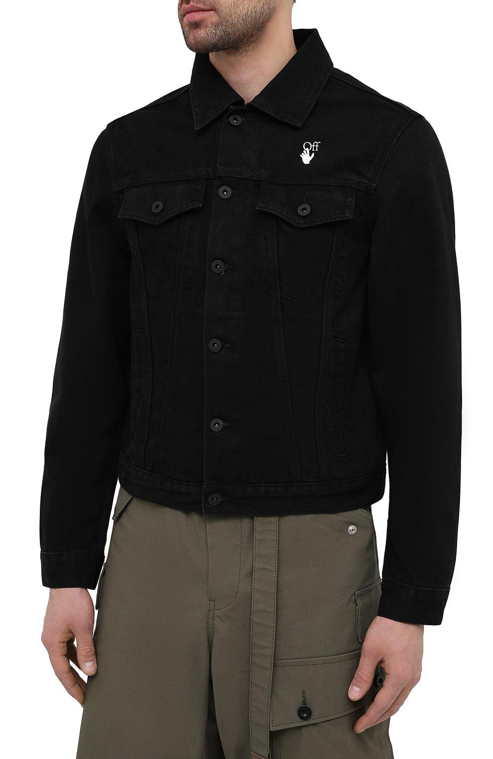 Мужская джинсовая куртка OFF-WHITE черного цвета, арт. 0MYE054R21DEN001 | Фото 3 (Кросс-КТ: Куртка, Деним; Рукава: Длинные; Стили: Гранж; Материал внешний: Хлопок, Деним; Длина (верхняя одежда): Короткие)