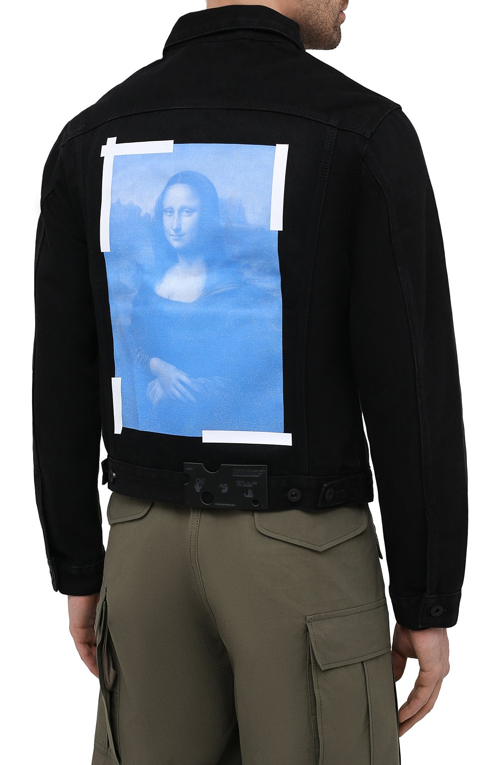 Мужская джинсовая куртка OFF-WHITE черного цвета, арт. 0MYE054R21DEN001 | Фото 4 (Кросс-КТ: Куртка, Деним; Рукава: Длинные; Стили: Гранж; Материал внешний: Хлопок, Деним; Длина (верхняя одежда): Короткие)