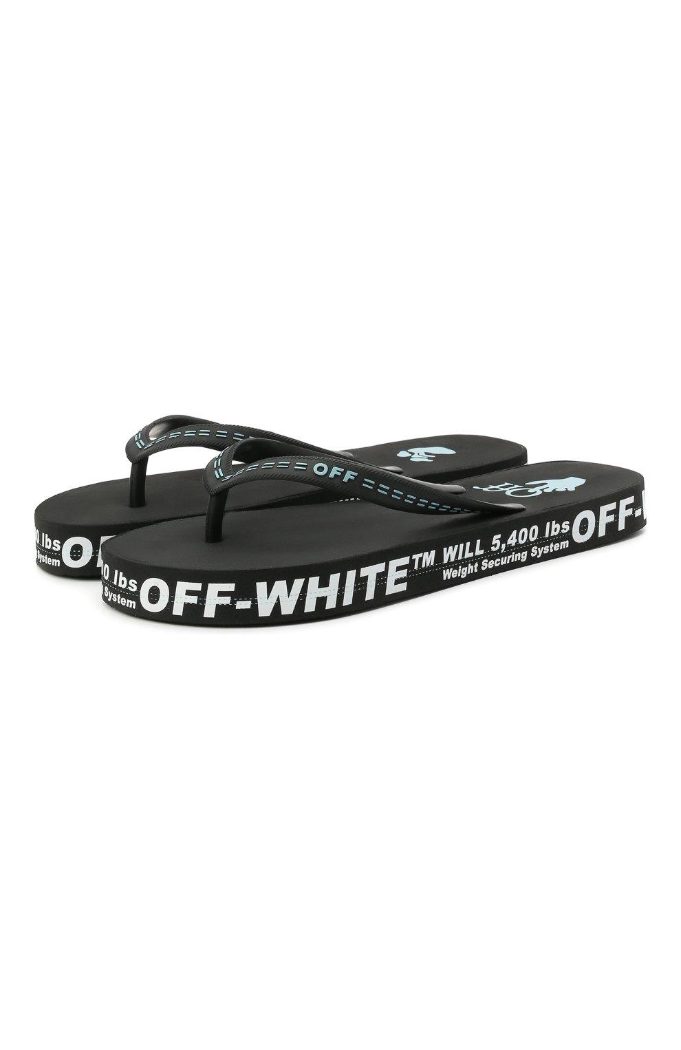 Мужские шлепанцы OFF-WHITE черного цвета, арт. 0MIC002R21MAT0011001 | Фото 1 (Материал внешний: Резина)