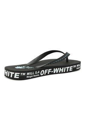 Мужские шлепанцы OFF-WHITE черного цвета, арт. 0MIC002R21MAT0011001 | Фото 4 (Материал внешний: Резина)