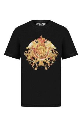 Мужская хлопковая футболка VERSACE JEANS COUTURE черного цвета, арт. B3GWA750-WUP601 2/30454 | Фото 1