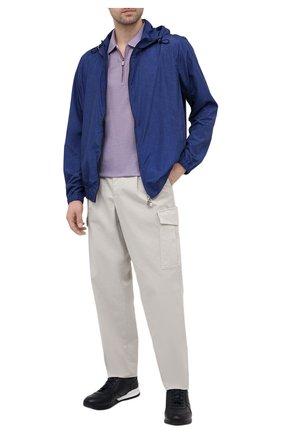 Мужское хлопковое поло CANALI сиреневого цвета, арт. T0653/MJ01156 | Фото 2